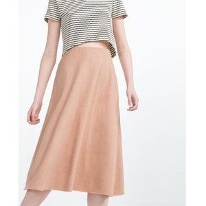 Zara Trafaluc Dusty Rose Tan Midi Skirt